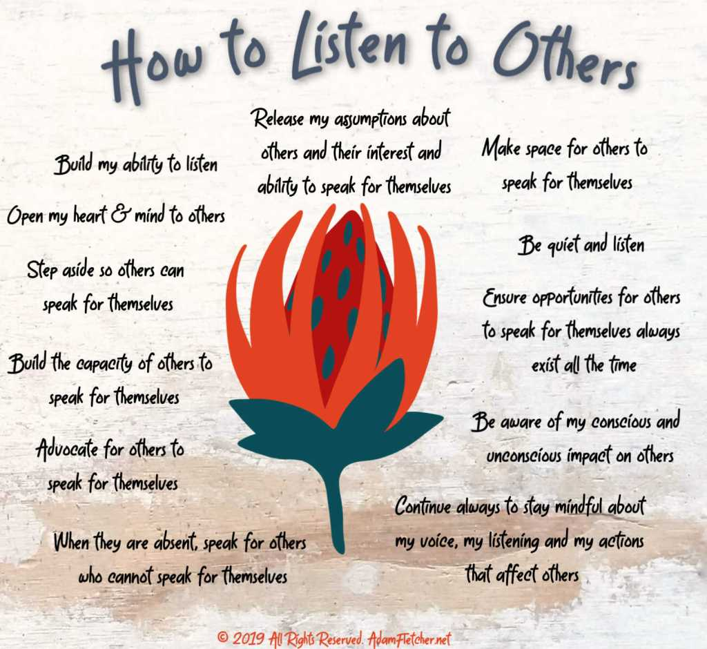 This graphic shows how to listen to others by Adam Fletcher