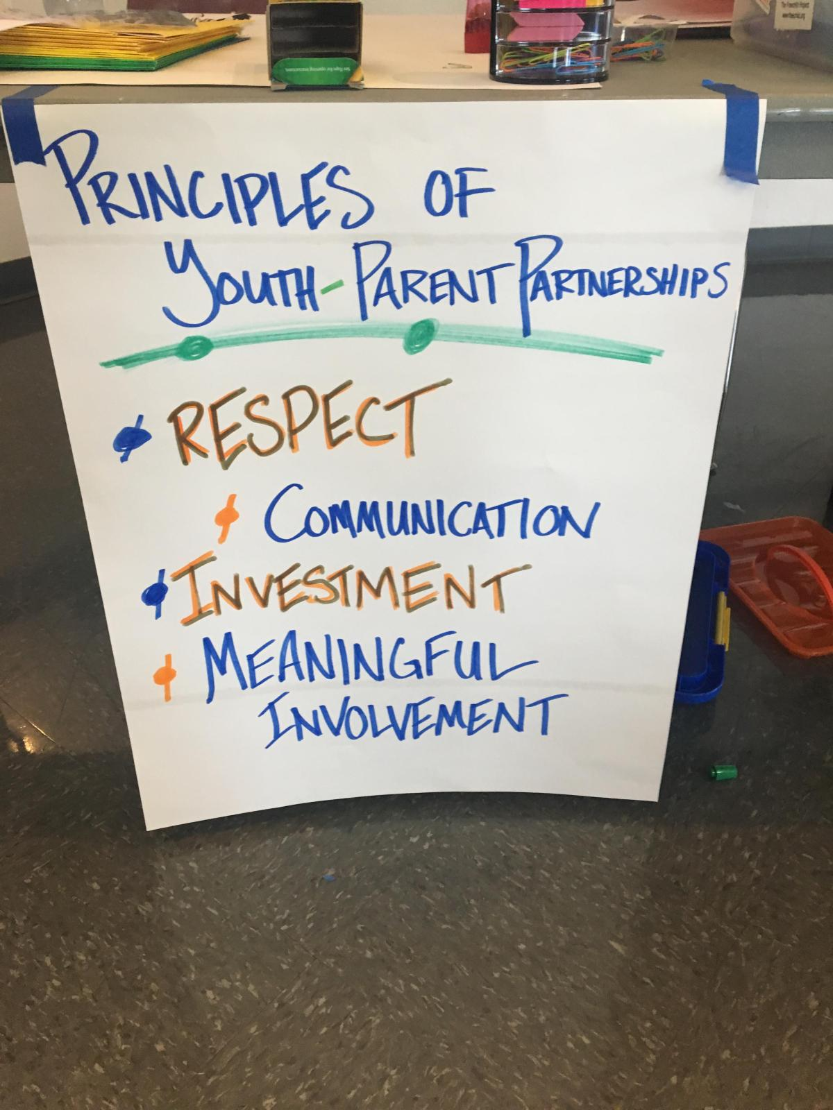 These are the Principles of Youth Parent Partnerships, created by a group of 500 youth in Durham, North Carolina in 1998.
