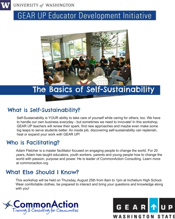"""This is a flyer for Adam Fletcher's """"Self-Sustainability for Educators"""" workshop."""