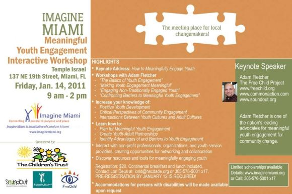This is a promotional flyer for Imagine Miami with Adam Fletcher.