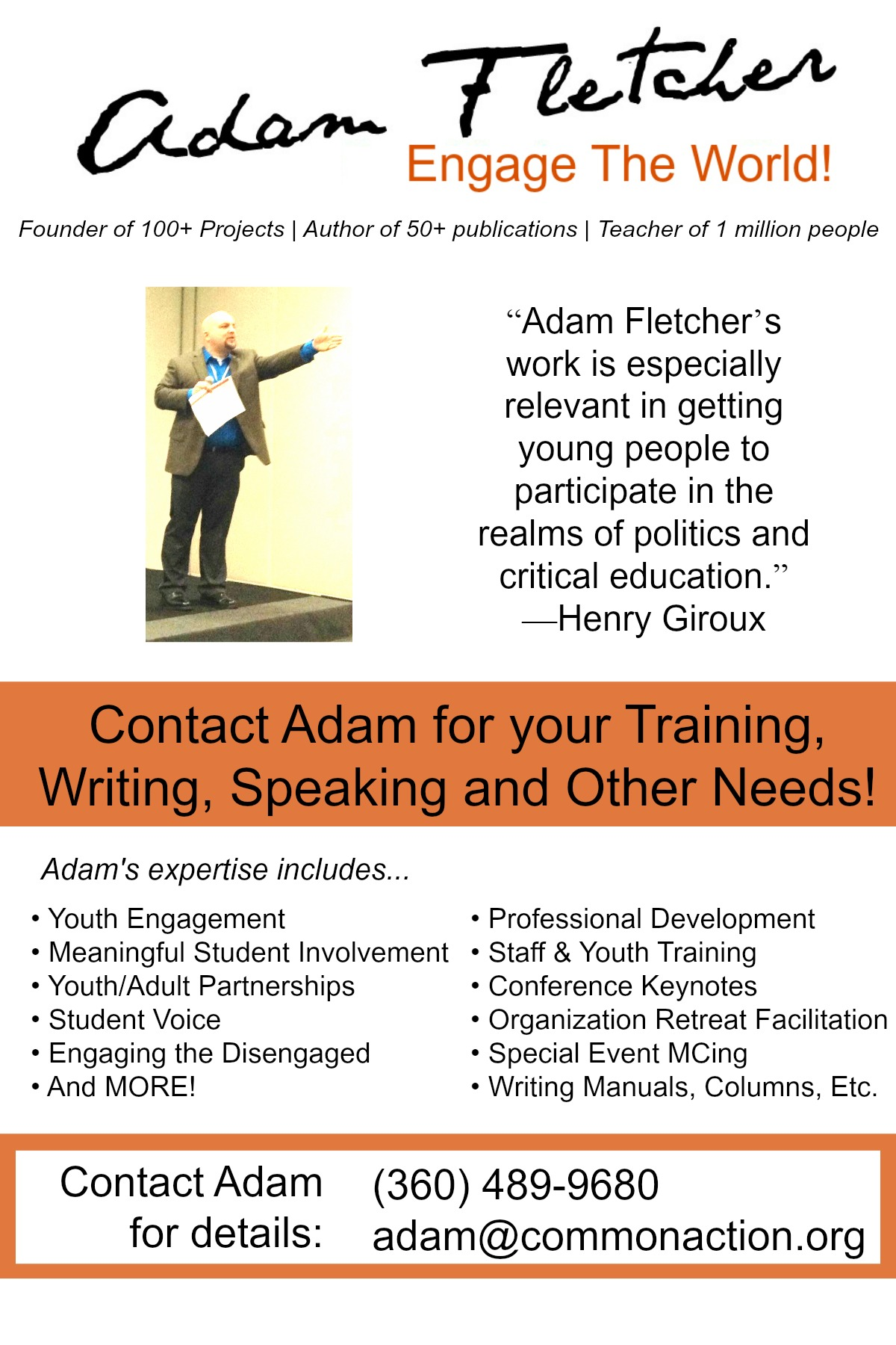 Adam Fletcher's 12/2014 Promo Flyer. Adam Fletcher's 12/2014 Promo Flyers. For more info visit https://adamfletcher.net/contact-us